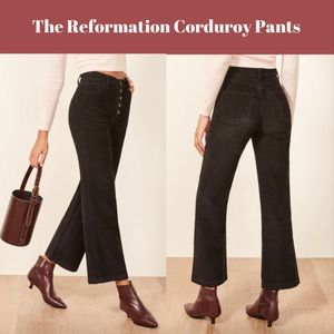 NEW Reformation Austin Button Fly Corduroy Pants